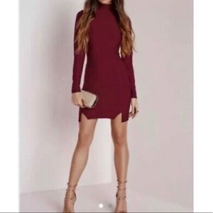 Misguided long sleeved  burgundy dress